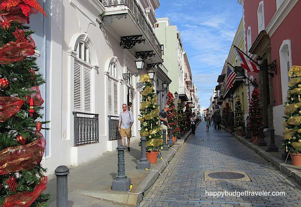 A cobblestoned street in San Juan, Puerto Rico