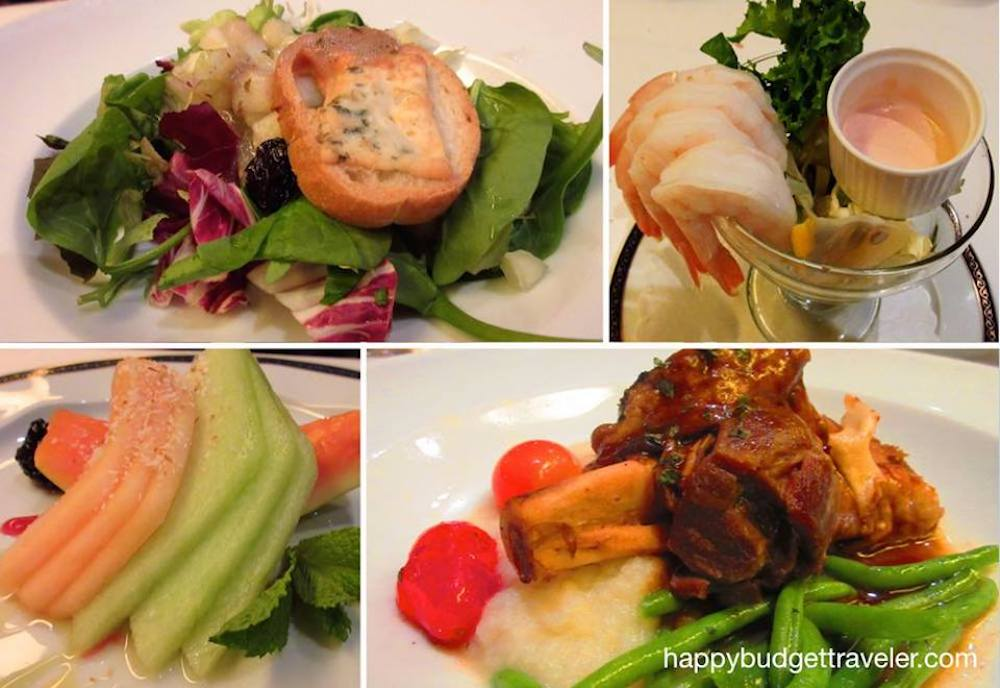 Four pictures of culinary delights on board