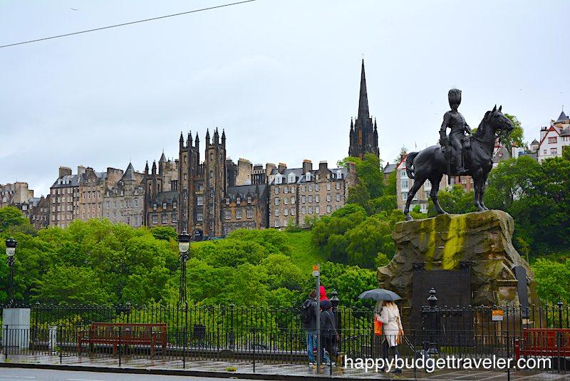 View of the Old City overlooking Princes gardens, Edinburgh-Scotland.