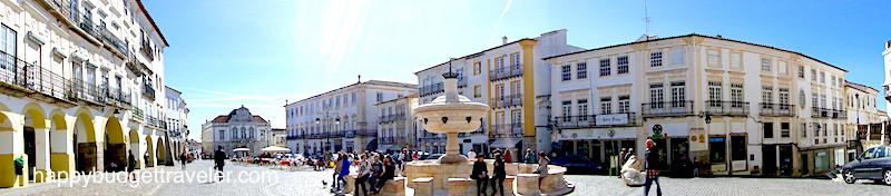 A panoramic view of Giraldo square, Évora, Portugal.