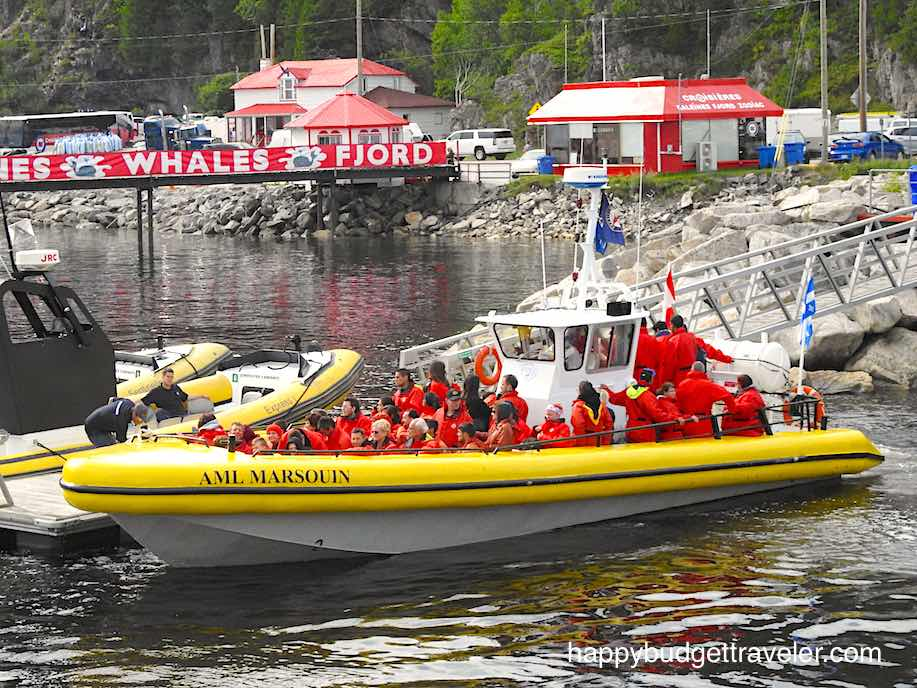 Zodiac whale watching expedition, St. Catherine bay-Quebec.