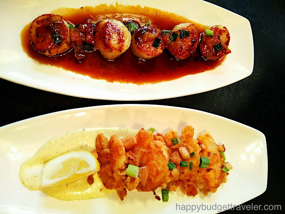 Fried Cod tongues with scrunchions and pan-seared scallops in Maple syrup.