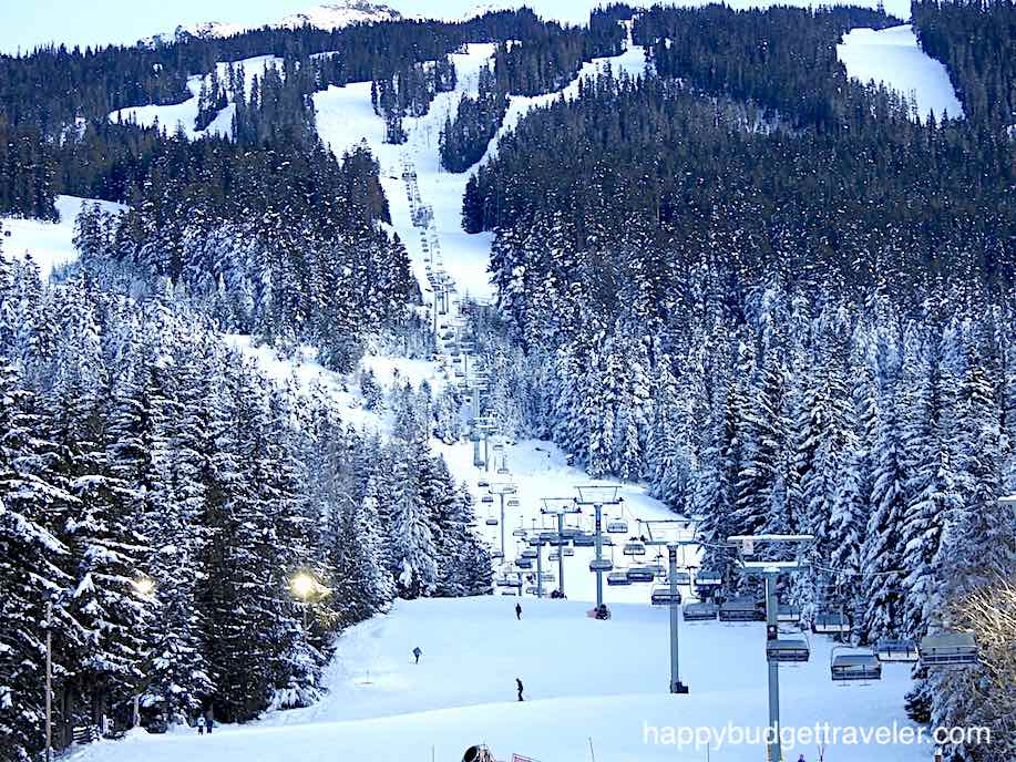 A view of the Blackcomb ski and snowboard slope in Whistler Canada