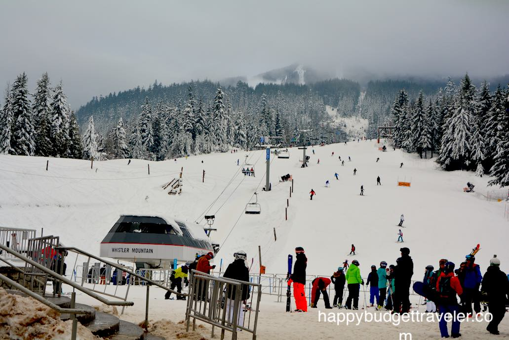A view of the Whistler ski and snowboard slope in Whistler Canada