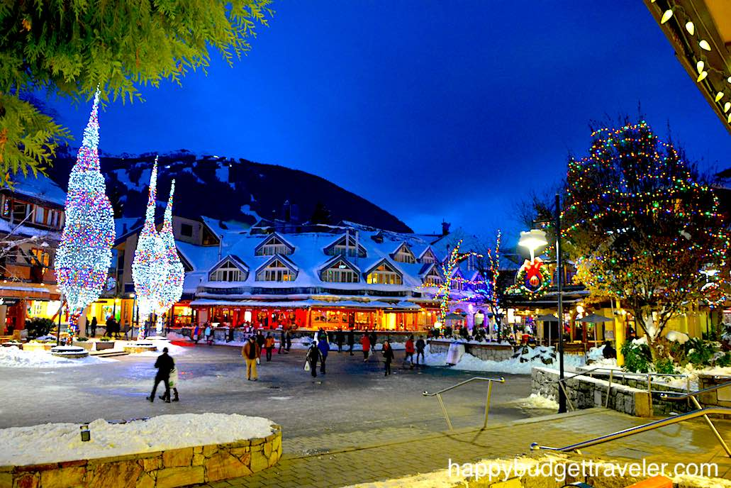 Night-time view of Village Square, Whistler