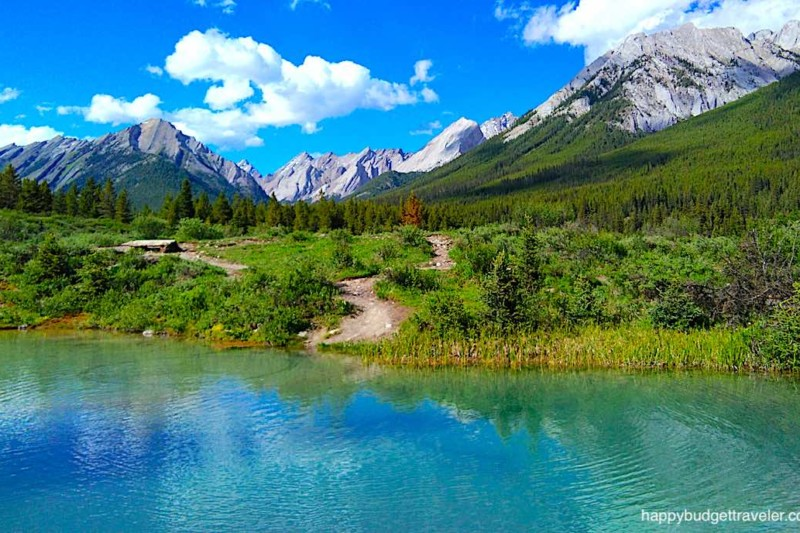 Picture of the magnificent Ink Pots in the meadows besides Johnston Canyon Creek, Banff-Canada